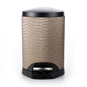 【Finara 費納拉】奢華咖啡金鱷魚皮紋-靜音緩降腳踏式垃圾桶5L