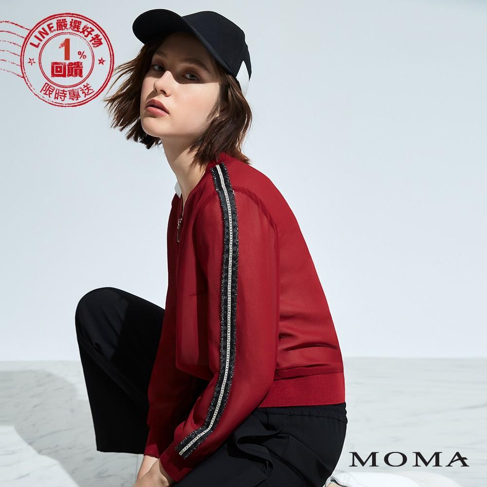 MOMA(92J021)雪紡銀蔥鑽飾織帶外套