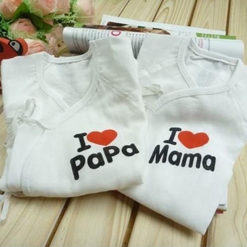 漂亮小媽咪寶寶紗布衣 【PAMA2】 我愛爸媽 新生兒 純棉 蝴蝶裝 紗布衣 兩件組 日單.日本熱銷托