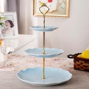 碟子 創意陶瓷水果盤家用客廳甜品點心架蛋糕架下午茶糖果