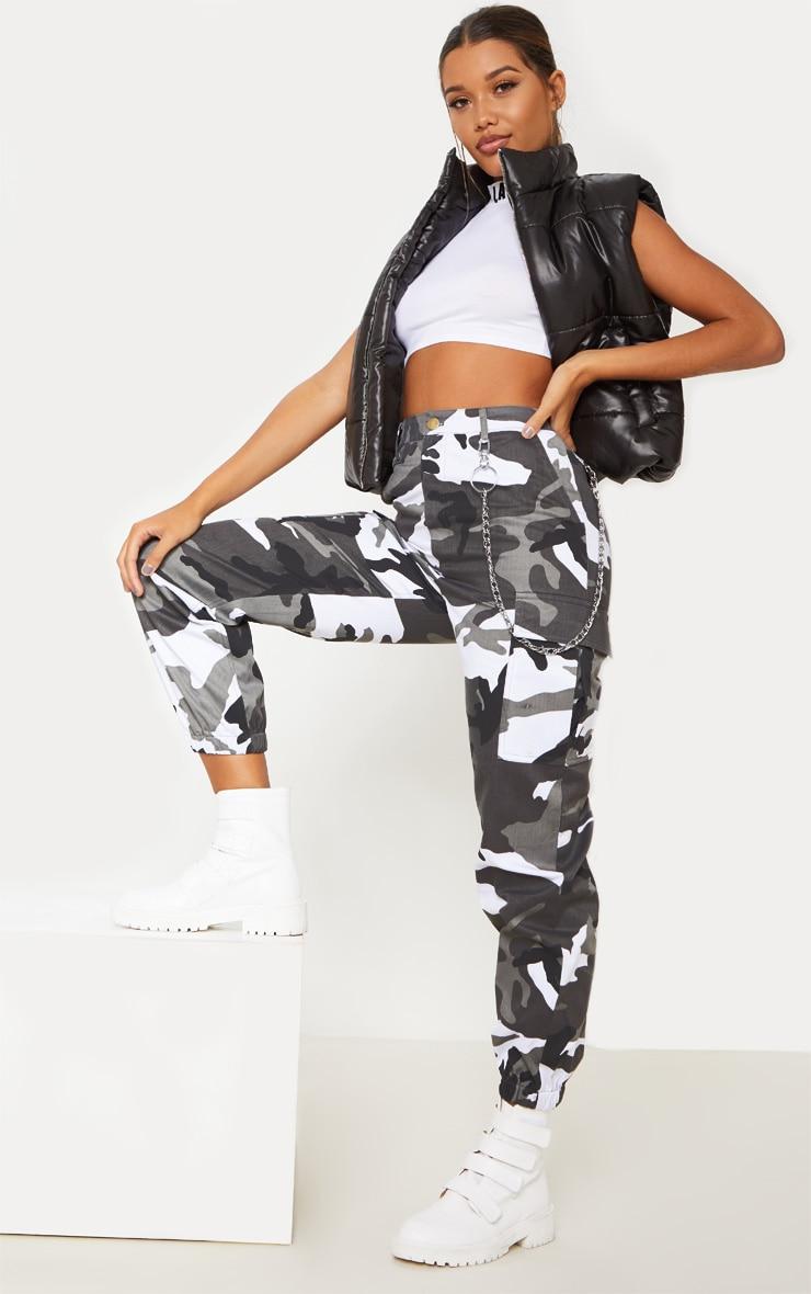 Grey Camo Pocket Detail Cargo Pants