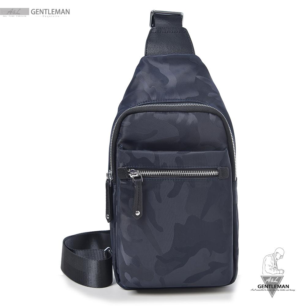 【A&L老工匠紳士館】防水胸背包時尚低調Camouflage-V0279-經典藍