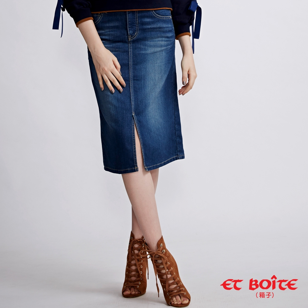 BLUE WAY ET BOiTE 箱子-經典及膝開叉丹寧短裙