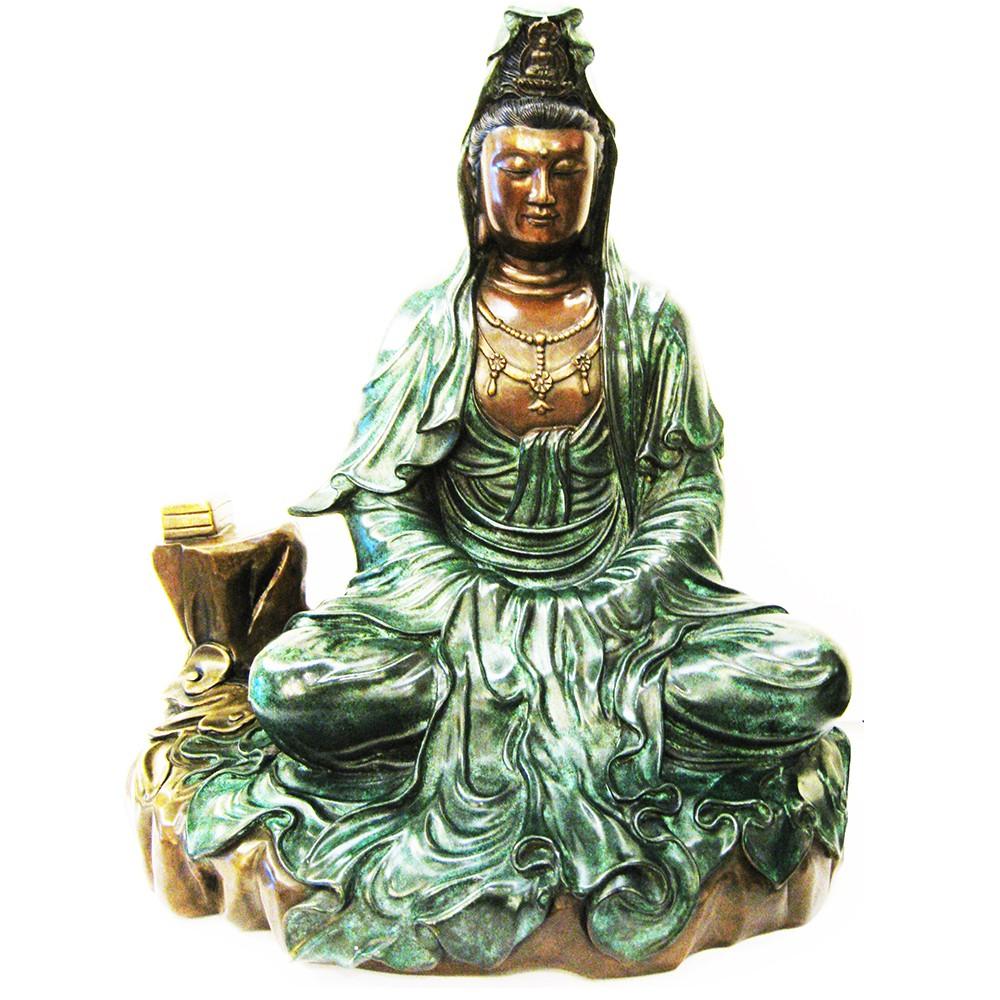 富貴吉祥-經書觀音 佛像 銅雕 觀世音菩薩 寬39x高64x深度22cm