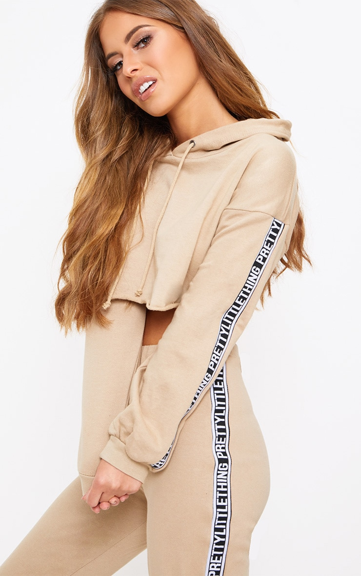 PRETTYLITTLETHING Petite Taupe Cropped Hoodie