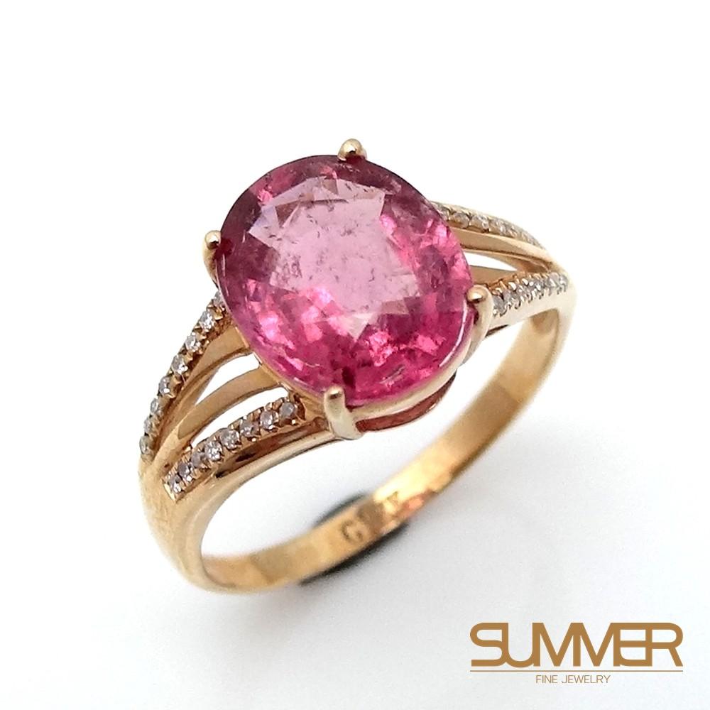 【SUMMER寶石】天然碧璽18K金戒指 2.9ct(KG-12)