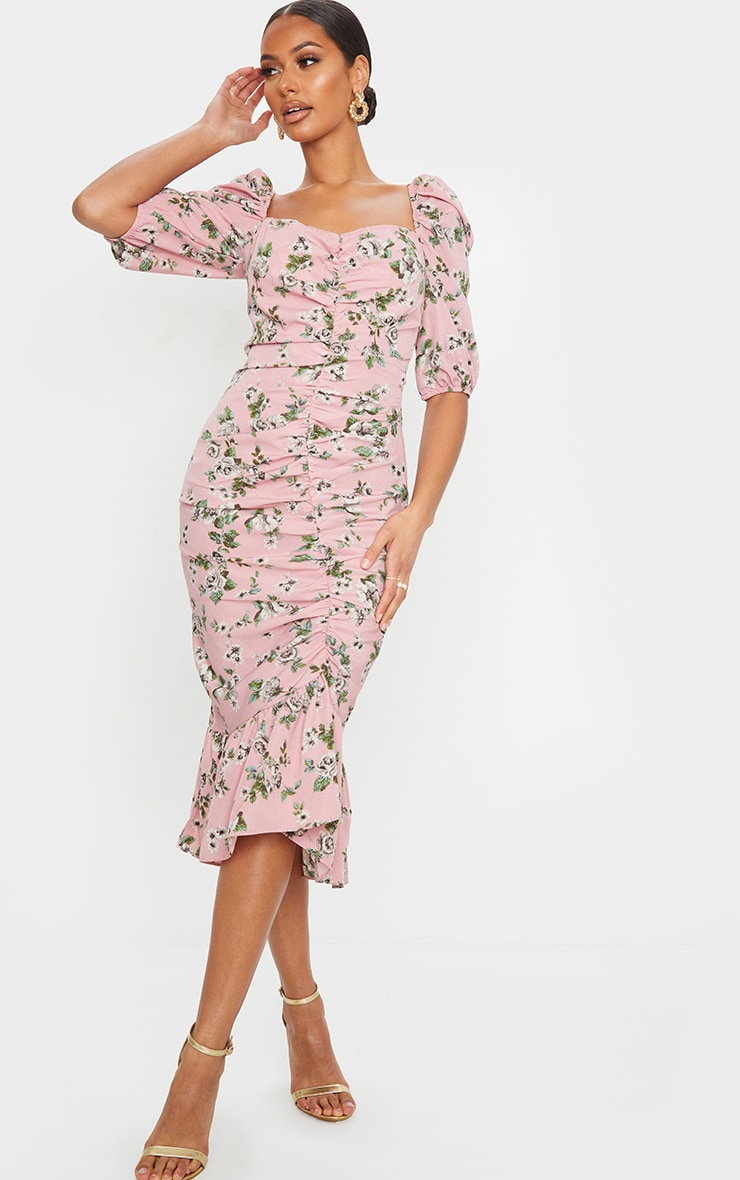 Dusty Pink Floral Ruched Front Frill Hem Midi Dress