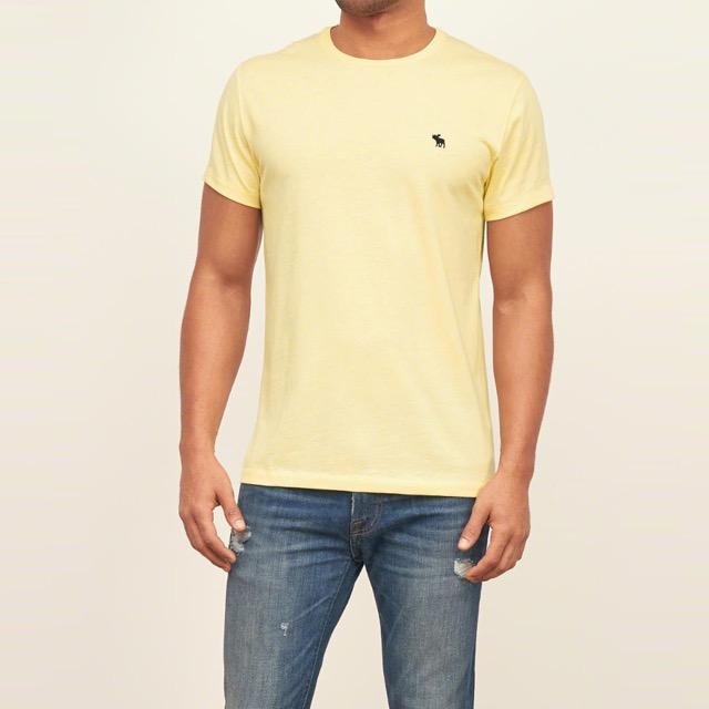 AF 麋鹿 A&F 經典電繡麋鹿標誌素面短袖T恤-黃色