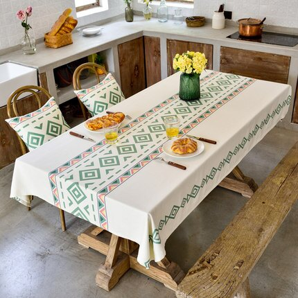 桌布 防水桌布布藝北歐高檔棉麻小清新現代簡約輕奢餐桌布長方形家用『LM2452』