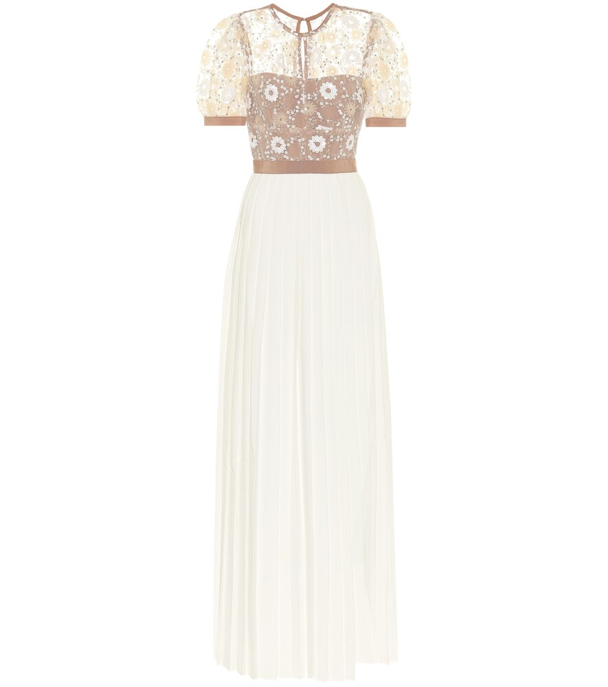 Embellished mesh and crêpe gown