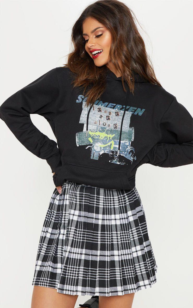 Black Woven Check Pleated Tennis Skirt