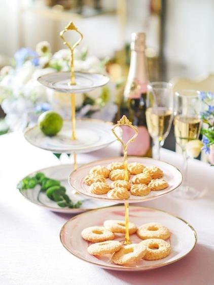 碟子 甜品臺陶瓷串盤雙層水果盤多層蛋糕架子婚慶生日派對