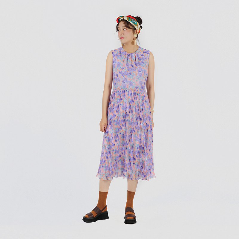 【蛋植物古着】粉彩紫陽印花無袖古著洋裝