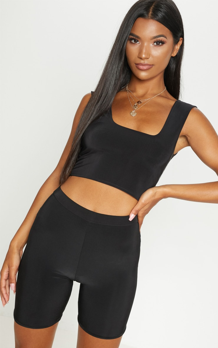 Black Second Skin Slinky Square Neck Top