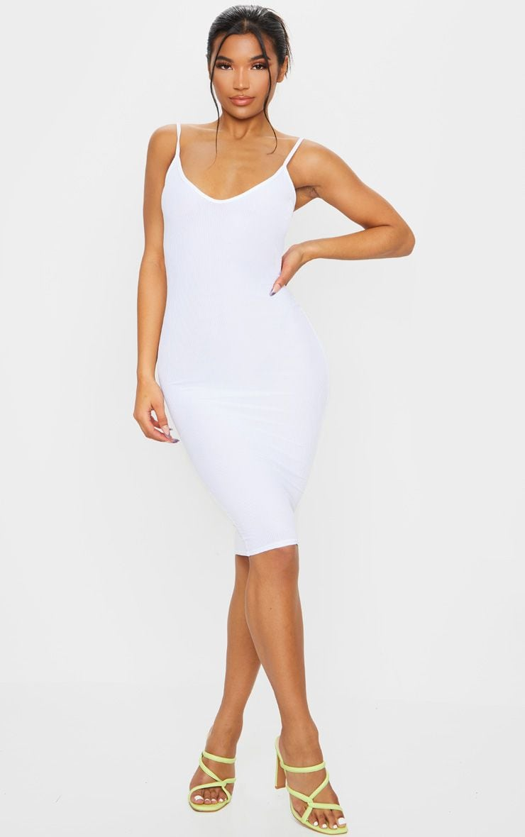 White Ribbed Plunge Bodycon Dress