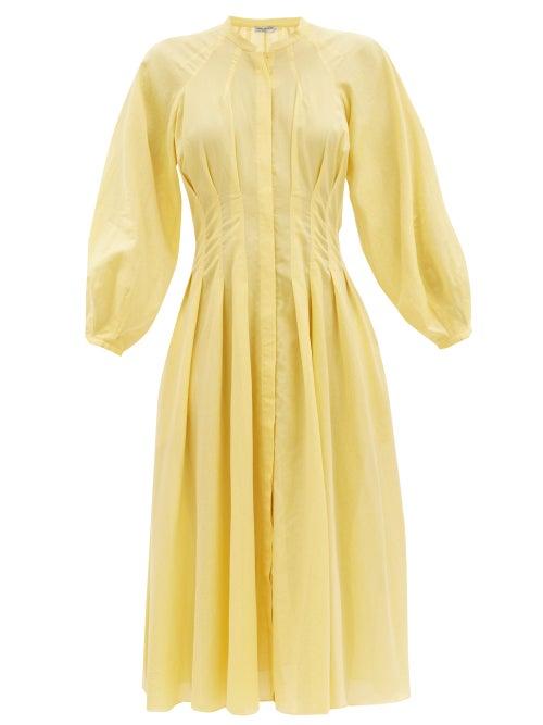 Three Graces London - Valeraine Balloon-sleeved Cotton-gauze Shirt Dress - Womens - Yellow