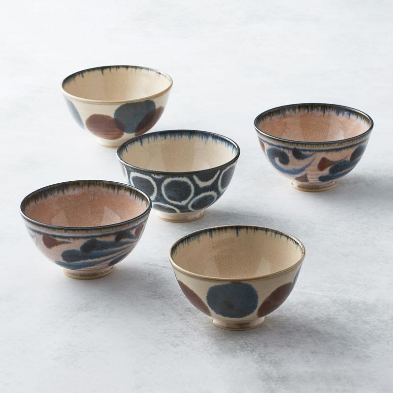 日本美濃燒 - 筆青釉繪飯碗組(5件式)