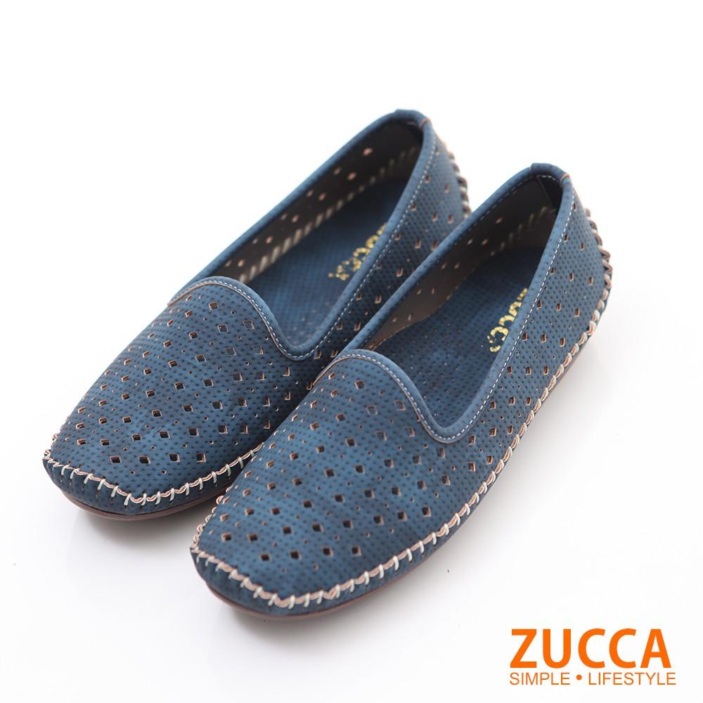【ZUCCA】縷空車線氣墊平底包鞋-z6001be-藍