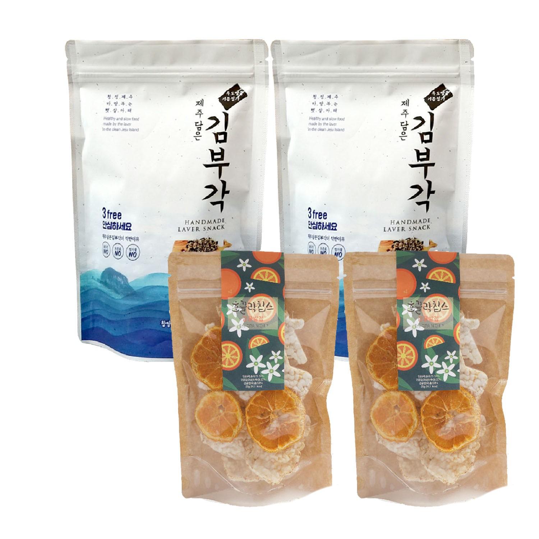 JejuMami 濟州媽咪 - 濟州純淨柑橘米餅脆片2入組+純手工海苔捲2入組-(有效期限 05/28/2021)