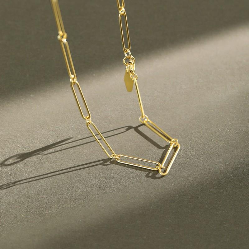 Slow life韓國S925純銀極簡鏈條choker頸項鏈ins冷淡風簡約小眾設計感百搭銀鎖骨鏈