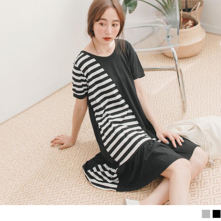 流行感配色條紋拼接荷葉裙襬短袖洋裝