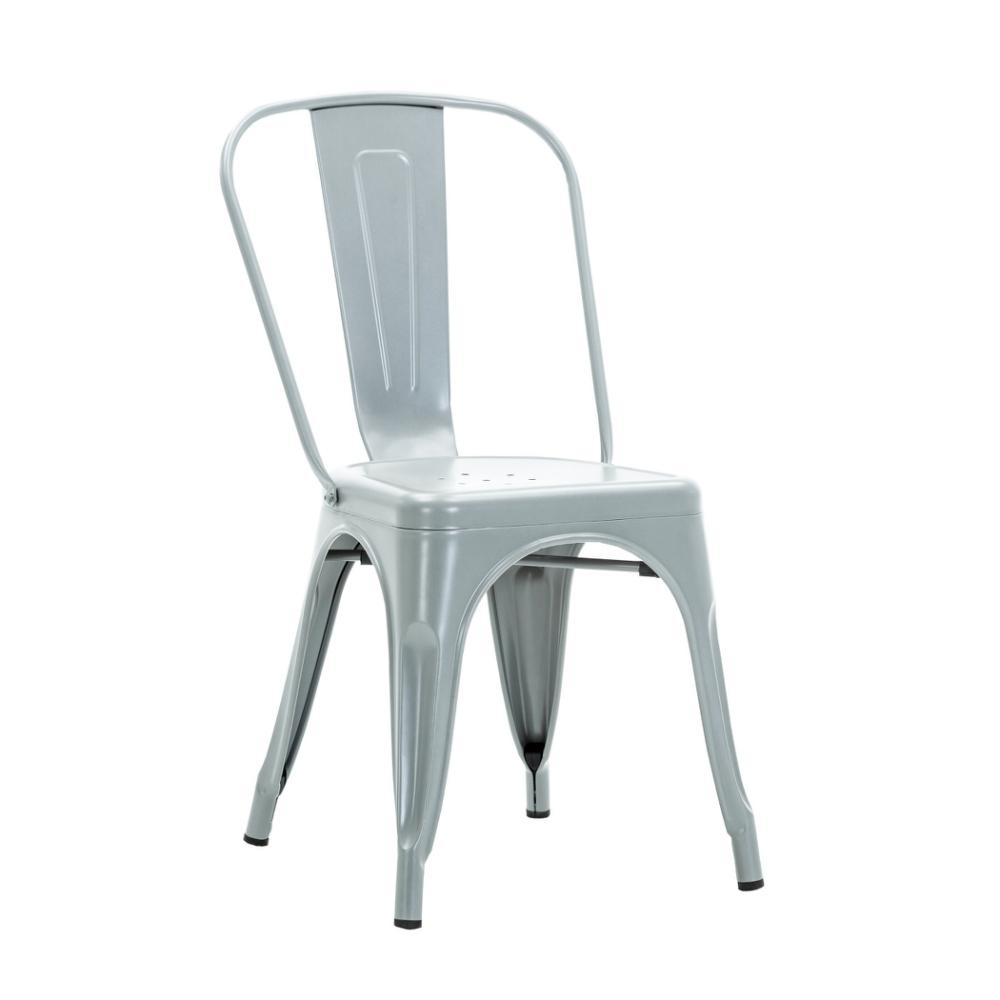 E-home Sidney希德尼工業風金屬高背餐椅 銀色