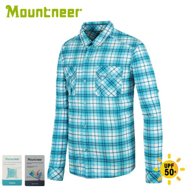 【Mountneer 山林 男 彈性抗UV格子長袖襯衫《海洋綠》】31B05/薄長袖/防曬襯衫/悠遊山水