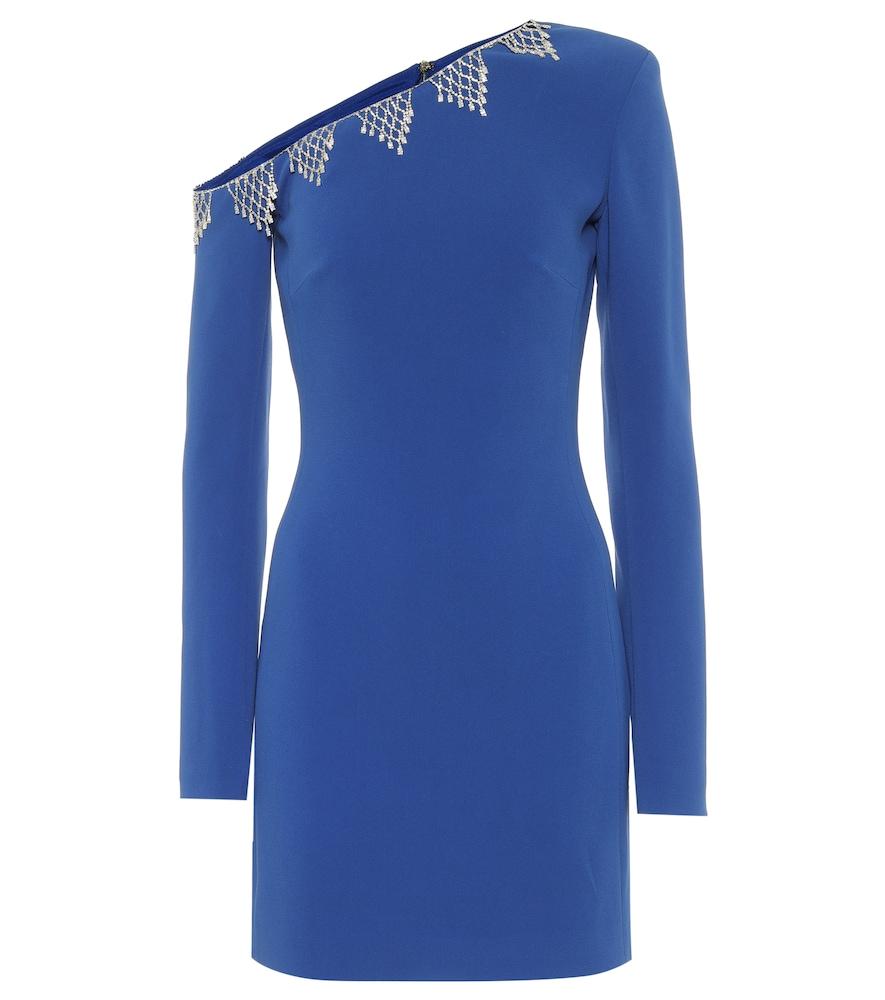 Exclusive to Mytheresa - Embellished cady one-shoulder minidress