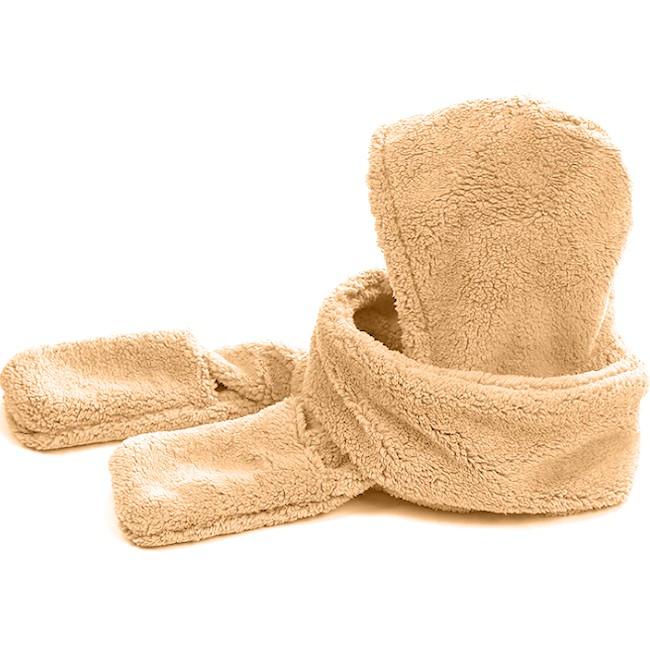 保暖毛帽+長圍巾+連體手套三件一體E020-01加絨防風護耳帽子.加厚頭圍脖頭套.三合一連帽套裝.防寒披巾披肩頭巾