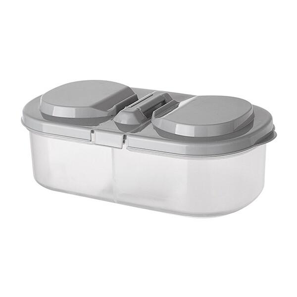 雙格有蓋冰箱儲物盒分格收納盒(1入)  顏色隨機出貨儲物盒/保鮮盒/收納盒