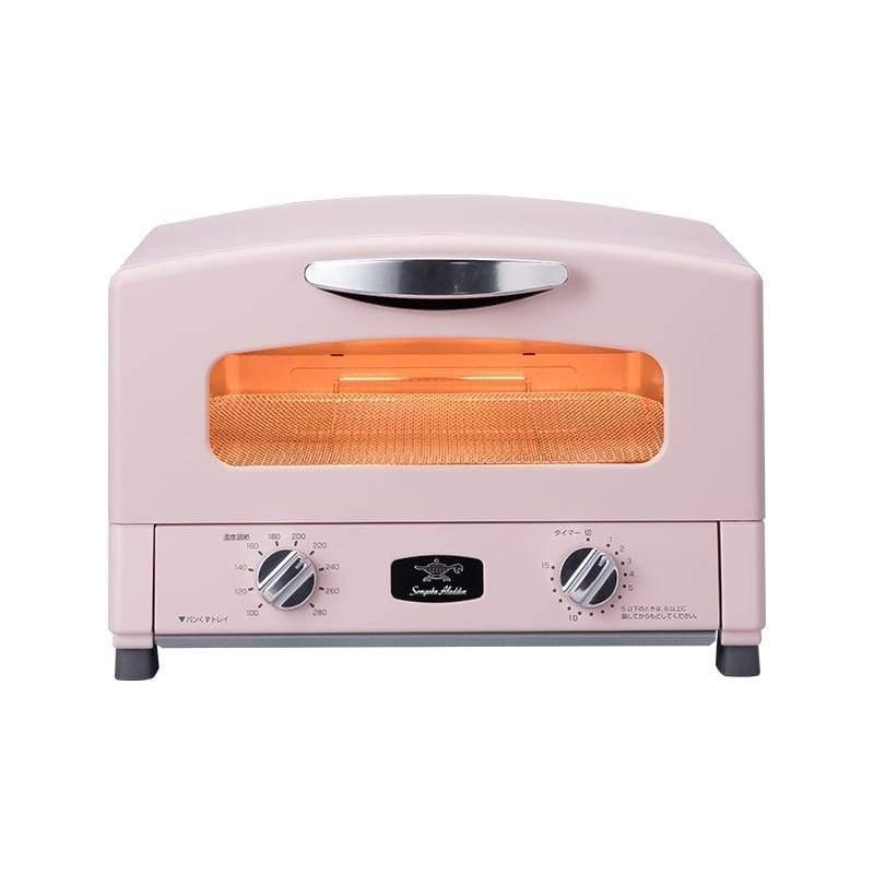 「專利0.2秒瞬熱」4枚焼復古多用途烤箱(送專用全彩食譜)AET-G13T-粉色(附烤盤) 櫻花粉