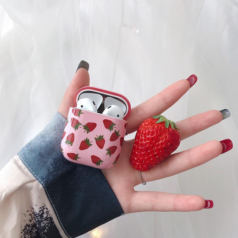 H03熱賣可愛草莓airpods保護套蘋果耳機套airpods2保護套收納包盒硬殼女