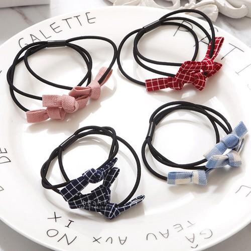 【現貨】髮飾 髮圈 綁髮 韓國小蝴蝶結三層布藝髮圈