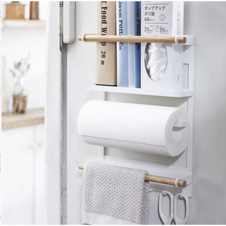 日式冰箱掛架簡約鐵藝磁鐵卷紙巾保鮮袋儲物廚房收納側壁置物架 (預售)【佳有名品】