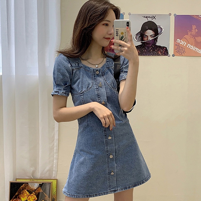 FOFU-連身裙溫柔風女神範顯瘦牛仔連身裙【08G-M1434】