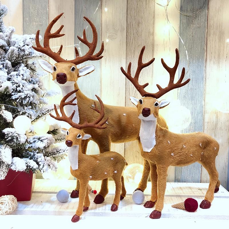 聖誕節裝飾品仿真梅花鹿擺件 毛絨玩具聖誕鹿 裝飾公仔 聖誕裝飾【公主的日記】