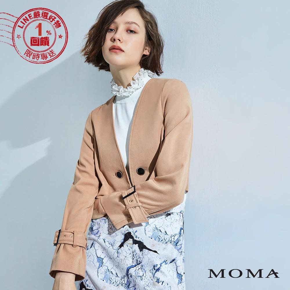MOMA(92J027)釦鍊短版風衣外套