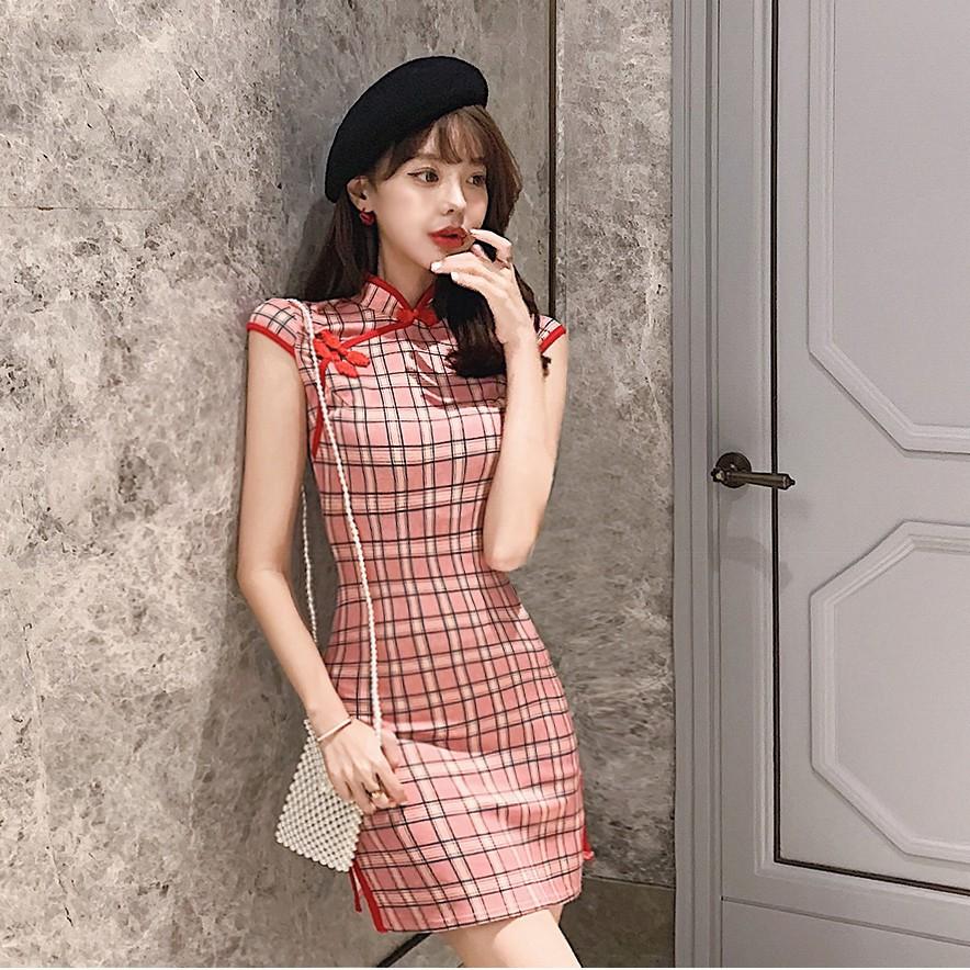 夏季女輕款復古收腰顯瘦時尚少女日常改良短款格子旗袍裙子