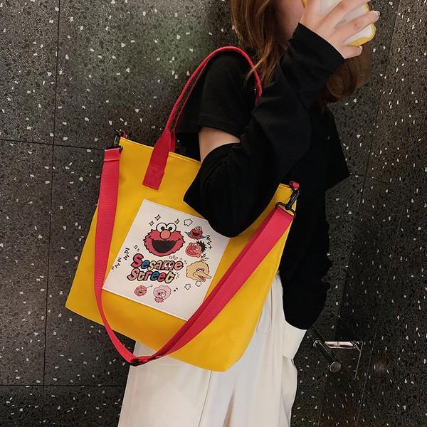 韩版托特包女超好背質感無敵大容量單肩包貓貓包袋2019新款卡通印花托特包大容量街頭時尚百搭單肩女包潮流