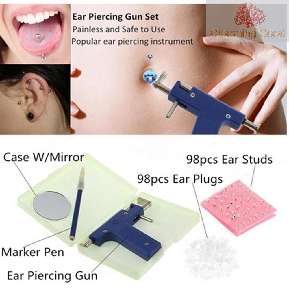 打耳洞工具打耳槍無痛穿耳器耳洞槍不銹鋼耳釘槍穿耳洞神器耳釘槍+98個槍釘+耳塞