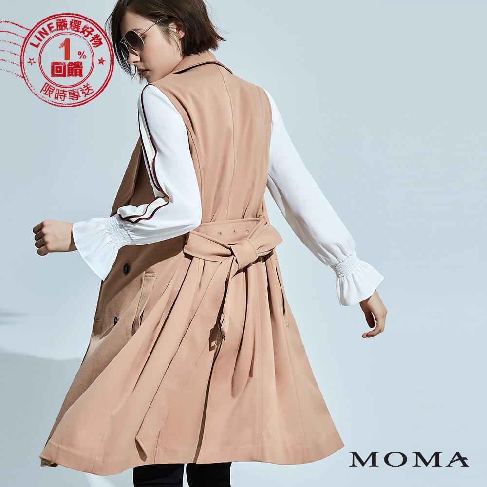 MOMA(92V027)雙排釦腰帶風衣背心