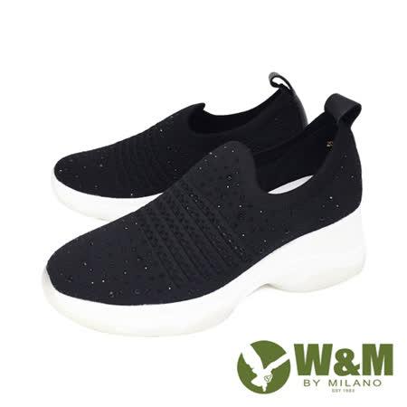 W&M(女) 圓頭亮鑽飛織內增高鞋 厚底鞋 女鞋-黑(另有粉)