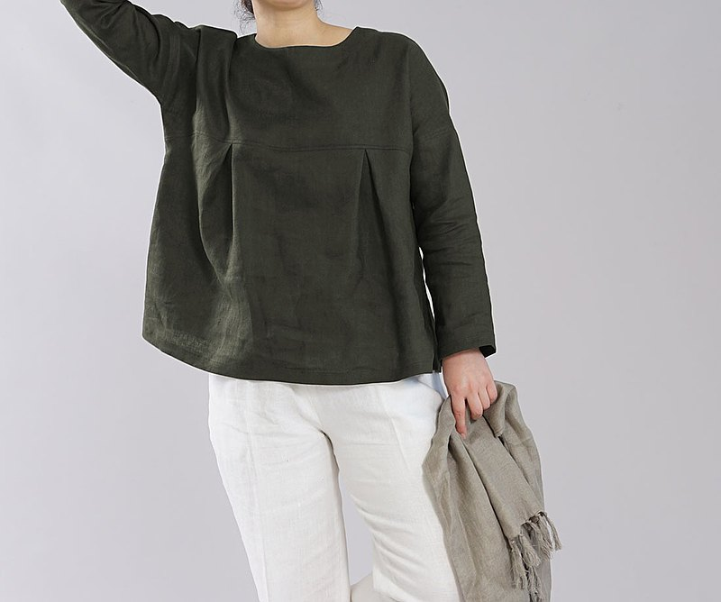 wafu-中型亞麻長袍上衣長袖褶皺落肩圓領圓領前大頭釘/蠟羅魯t011a-rou2