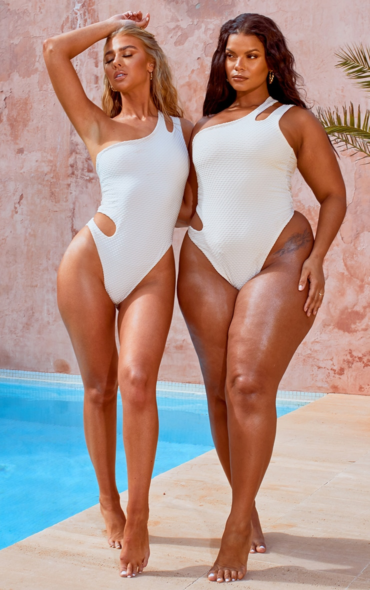 Plus Nude Waffle Texture Cut Out Swimsuit