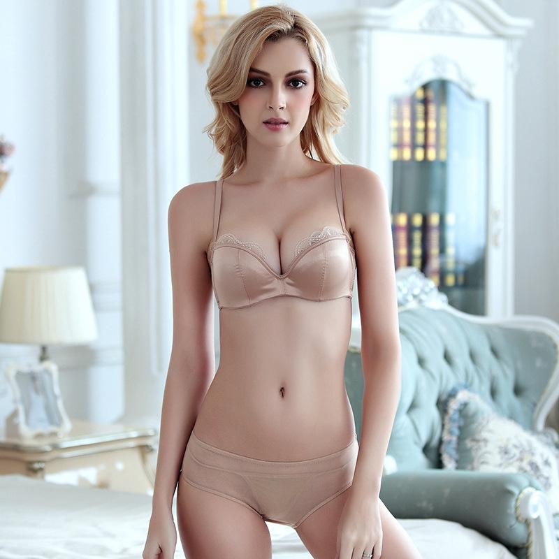 免運 6個顏色 ABCD杯 平口胸罩 性感蕾絲邊 光面無痕內衣 薄棉墊杯 集中爆乳半杯文胸套裝 少女流行內衣 成套內衣褲