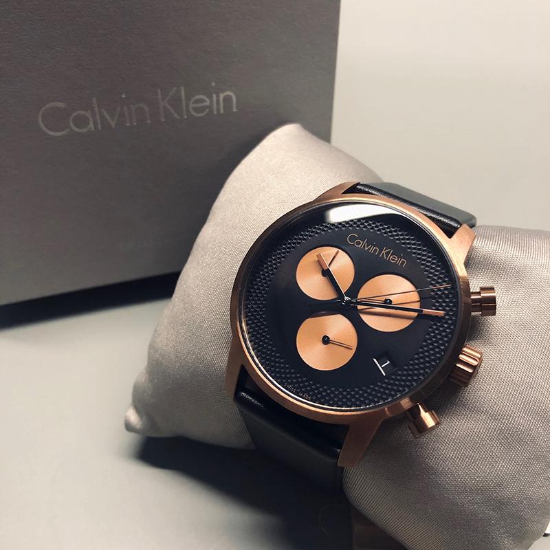 美國百分百【全新真品】Calvin Klein 黑面玫瑰金 三眼計時 皮質錶帶 手錶 腕錶 石英錶 瑞士製造 BA63