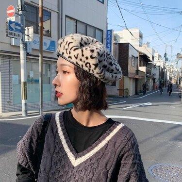 貝雷帽豹紋貝雷帽女英倫復古潮ins八角帽韓版日系網紅蓓蕾帽子秋冬百搭 伊蘿鞋包