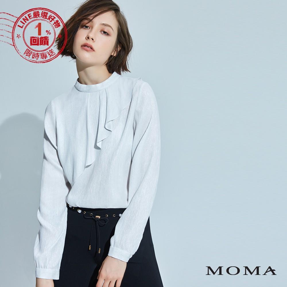 MOMA(92G040)亮澤荷葉邊上衣