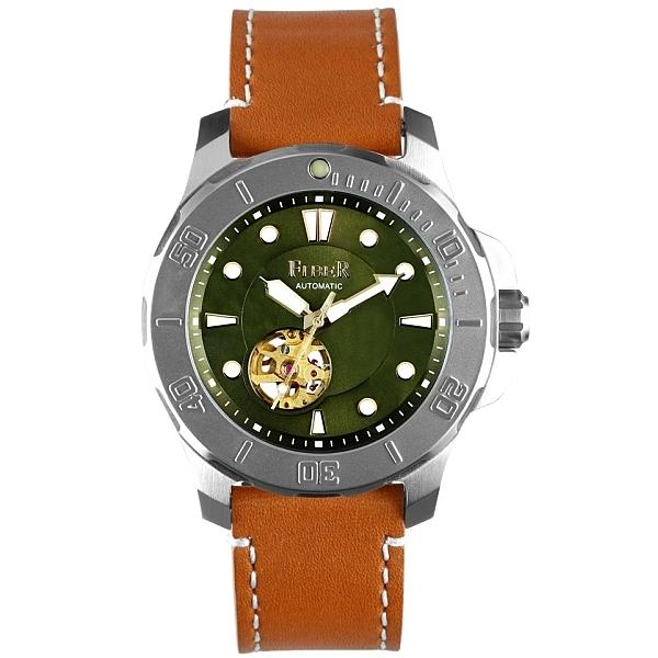 【FIBER】/海洋潛將鏤空綠機械潛水錶(男錶 女錶 Watch)/FB8016-17/台灣總代理原廠公司貨一年保固