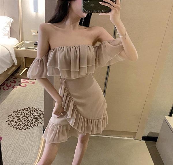 2020年夏天性感抹胸一字肩荷葉邊裙子女裝夏季新款氣質閃光連身裙
